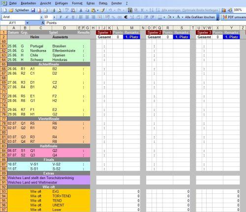 Excel WM Tippspiel